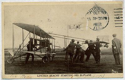 LINCOLN BEACHEY W/ BI-PLANE - INT'L AIR MEET CHICAGO PIONEER FLT POSTCARD BP8289