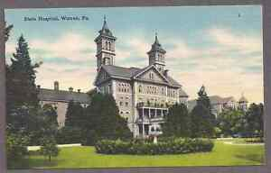 State Hospital, Warren,  Pa., NOS unused linen postcard