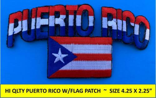 PUERTO RICO FLAG EMBROIDERED PATCH BORICUA IRON-ON SEW-ON (4.25 x 2.25) -HI QLTY