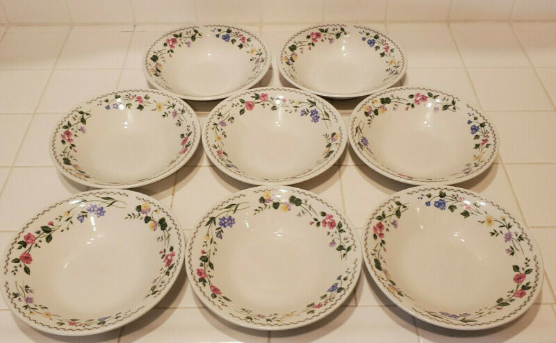 "Farberware Stoneware English Garden 225 SET OF 8 7.5"" Soup/Cereal Bowls"