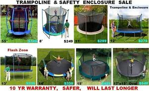 Trampoline With Safety Enclosure Sale 8 Diff Sizes 10yr Warranty