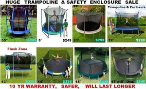 ALL SIZES TRAMPOLINES, !!! HOT SALE, SAFER,10YR WARRANTY