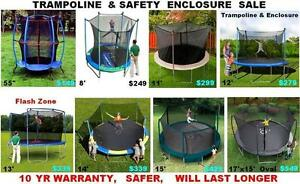 Trampoline & Enclosure,8 Diff Sizes!!!,Brand New 10 yr Warranty