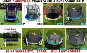 Trampolines & Safety Enclosure Sale, kid Safe, 10 YR Warranty