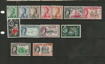 STAMPS FIJI 1959=63    QEII DEFINITIVE SET OF 13  WMK  SCRIPT  C A  FINE USED
