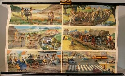 Schulwandkarte Role Map Wall Chart Streets Then And Today People Traffic
