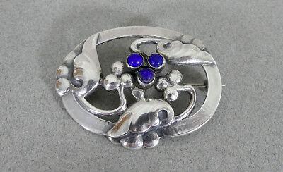 Georg Jensen Sterling Silver Lapis BROOCH Pin Vintage Denmark #101 Rare c1927