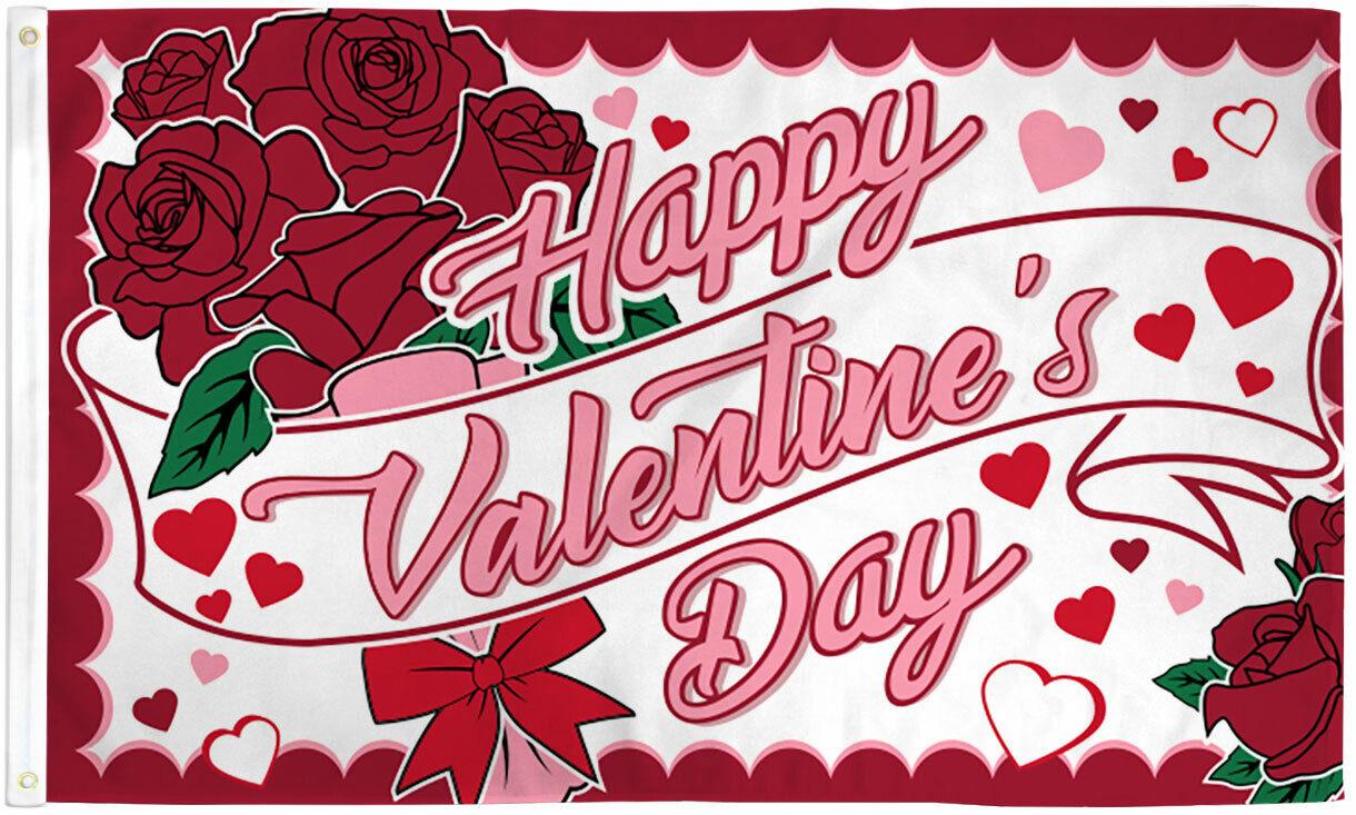 Happy Valentine's Day Flag 3x5 Valetines Flag Holiday House