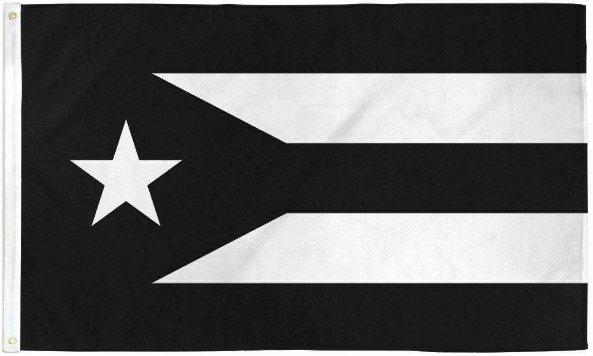 Resistance Flag of Puerto Rico 3x5 ft Black & White Protest