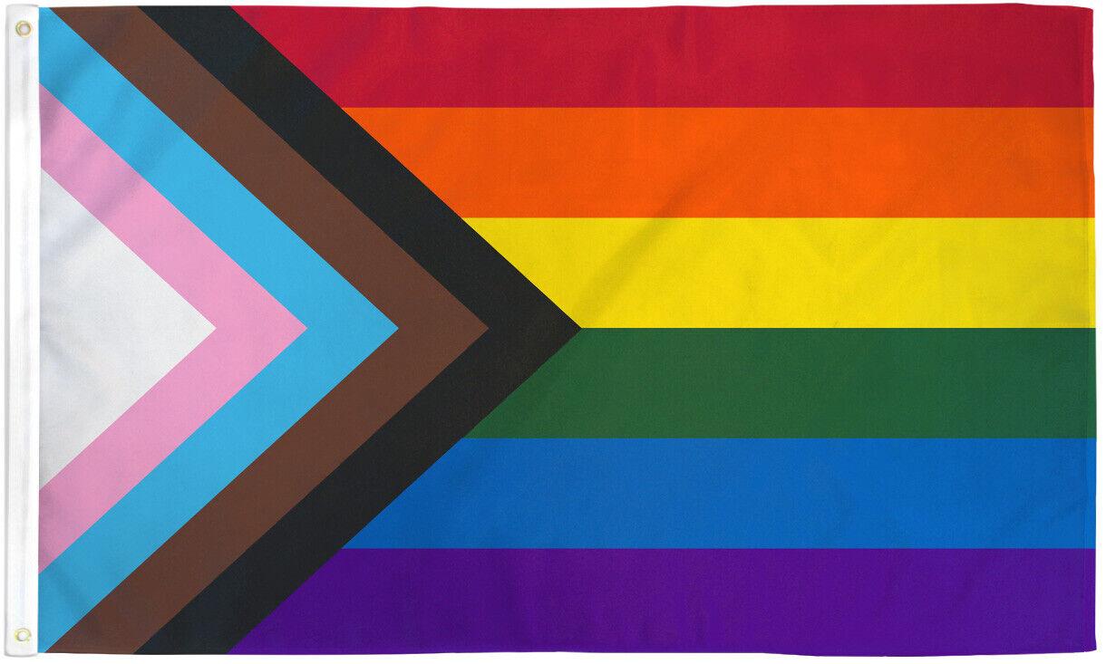 Progress Pride Flag LGBTQIA  Pride LGBT POC Inclusive Pride