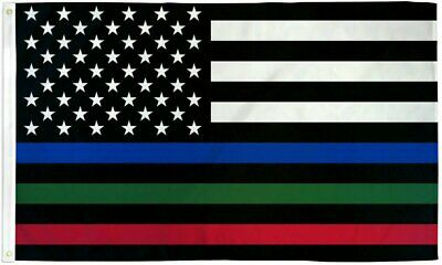 USA Thin Red, Blue & Green Line 3x5ft Flag – Grommets – Police – Fire – Military Décor