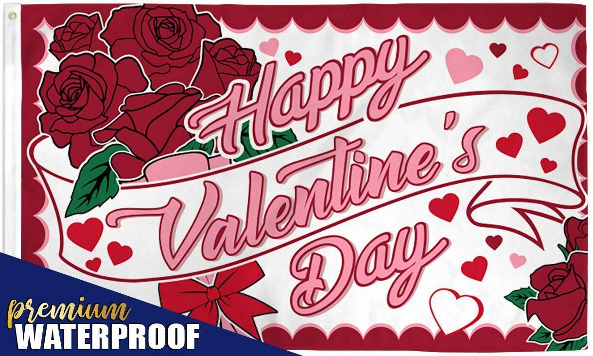 Happy Valentines Day Flag 3x5 Valentine's Day Roses V-day Vd