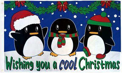 COOL CHRISTMAS flag 3'x5' Seasonal Holiday PENGUINS Polyeste