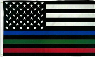 Thin BLUE Line police Flag 3×5 Ft  Fire Fighter Firefighter -Police American Law Décor