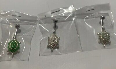 Sterling Silver Belly Button Jewelry Turtles with Rhinestone Lot 3 PCS