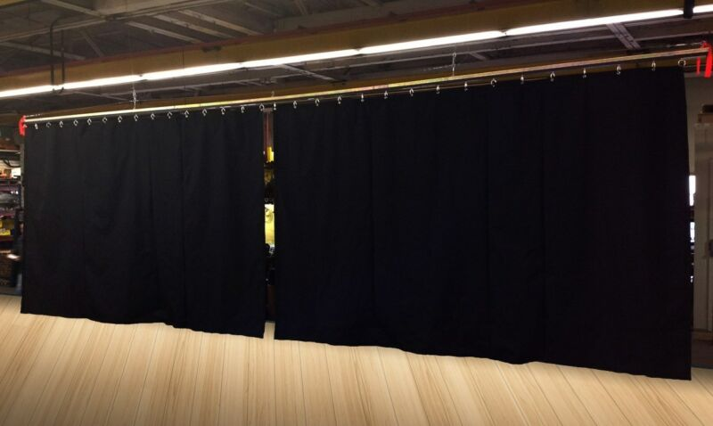 Lot of (2) Black Stage Curtain/Backdrop/Partition, 11 H x 20 W each, Non-FR