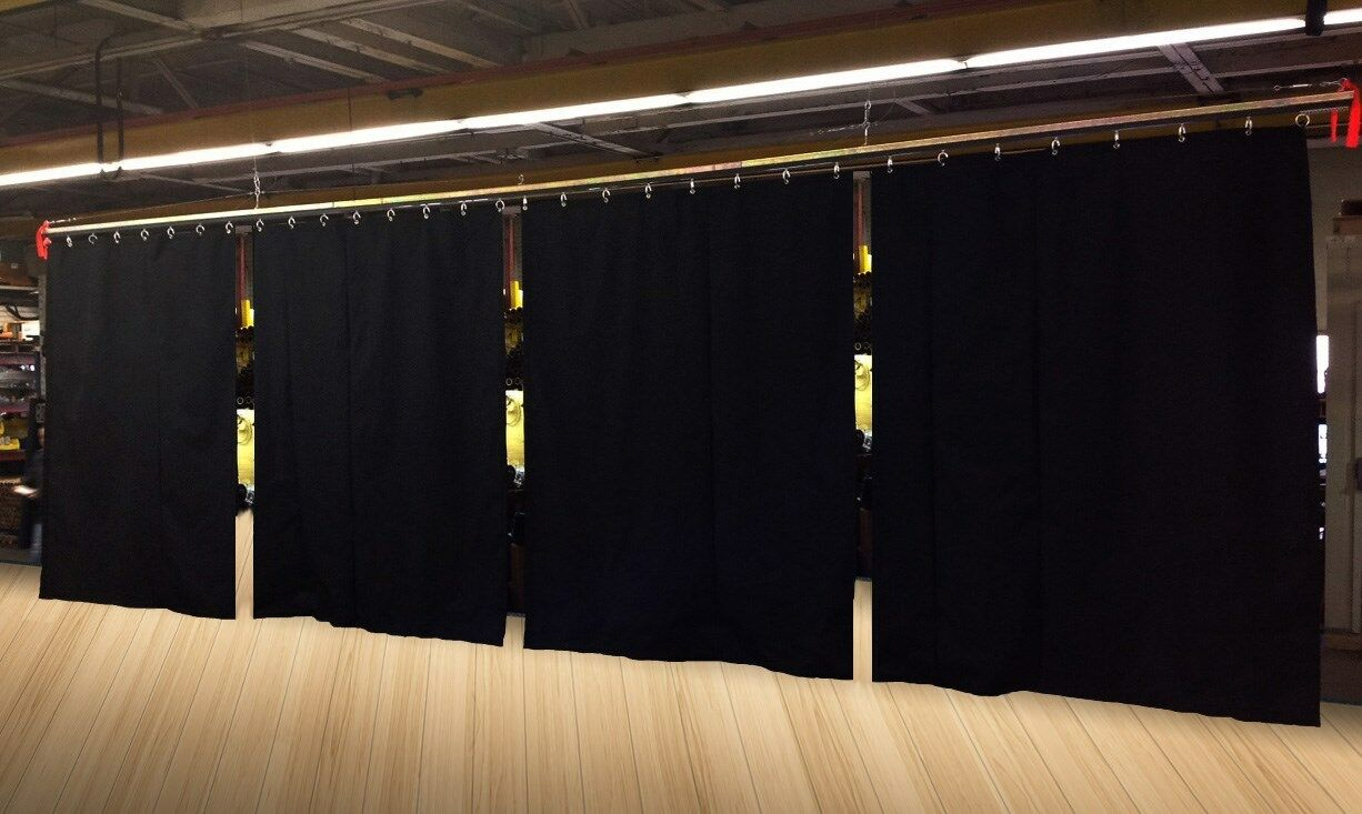 Ширмы и фоны  Lot of (8) Economy Black Curtain Panel/Partition 15 H x 4½ W (15 H x 36 W total)