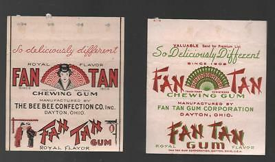 Vintage Fan Tan Chewing Gum Wrappers....Lot of 2 Different