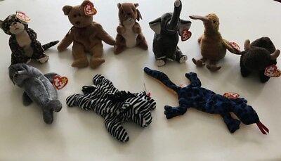9-Piece Lot Ty Beanie Babies NWT
