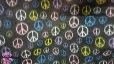 Polar Polyester Fleece Peace Sign Black Hippy Hippie Fabric by the -