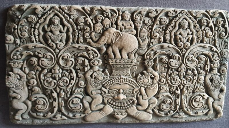 Antique Khmer Sandstone Panel Carving Kala of Angkor Fragment Relic