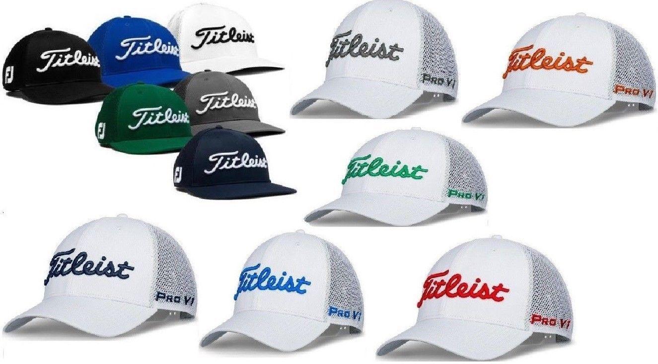 850143bede9 New Titleist Golf Tour Mesh Snapback Hat Pro V1 Color Adjustable White Grey