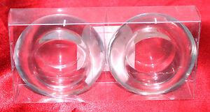 2-1-Pair-Tea-light-Votive-Candle-Holder-Beveled-Sides-Holders-Thick-Glass