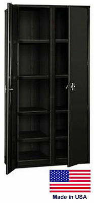 Storage Cabinet Commercialindl - 12 Gauge Steel - 8 Shelf - Black - 72x48x24 P