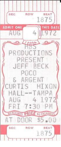 Original JEFF BECK Argent Poco Unused Concert Ticket 1972