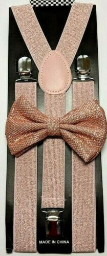 New Peach Glitter Suspenders Shiny Bow Tie Set Classic Dance Tuxedo Combo