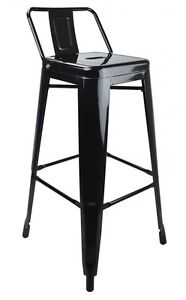 RESTAURANT INDUSTRIAL AND TOLIX STYLE SHORT BACK BAR STOOL