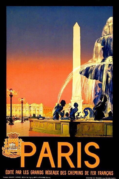 1920s Paris France Europe European #3 Travel Poster Art Print