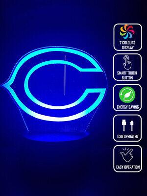 CHICAGO BEARS FOOTBALL 3D Acrylic LED 7 Colour Night Light Touch Table Lamp Chicago Bears Table Lamp
