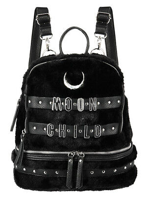 Restyle Crescent Moon Child Faux Furry Gothic Punk Occult School Bag Backpack for sale  Staten Island
