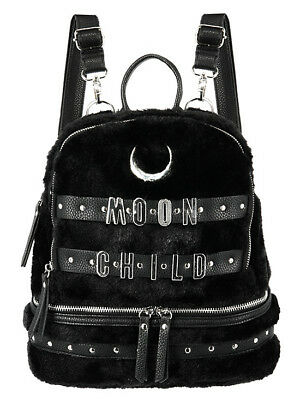 Restyle Crescent Moon Child Faux Furry Gothic Punk Occult School Bag Backpack, used for sale  Staten Island