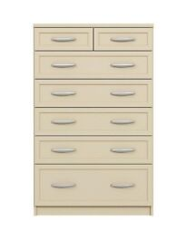 Oslo 5 + 2 Graduated Chest of Drawers Cashmere Brand New ( Flat Pack )