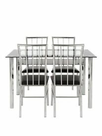 Vienna 120cm Glass Dining Table + 4 Chairs. Flat pack