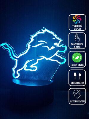 DETROIT LIONS FOOTBALL 3D Acrylic LED 7 Colour Night Light Touch Table Lamp