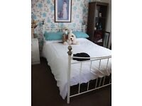 cream/white metal double bed frame, never slept on,