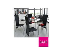 Varezze 130cm Glass Dining Table + 4 Chairs