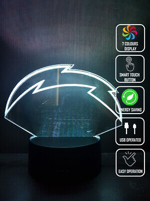 LOS ANGELES CHARGERS 3D Acrylic LED 7 Colour Night Light Touch Table Lamp for sale  Shipping to Canada