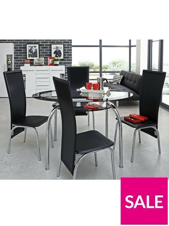Varezze 130cm Glass Dining Table 4 Chairs Brand New