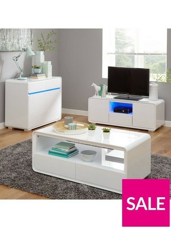 Cosmos Curved High Gloss Coffee Table White Brand New