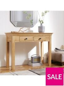 Lux Collection Constance Solid Wood Oak 2 Drawer Console Table