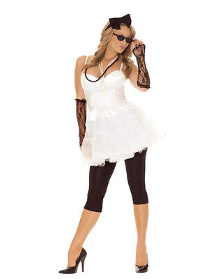 Womens Rockstar Costume (Rock Star Rocker Costume Top Shirt Leggings Lace Gloves Retro 80s Madonna 9117)