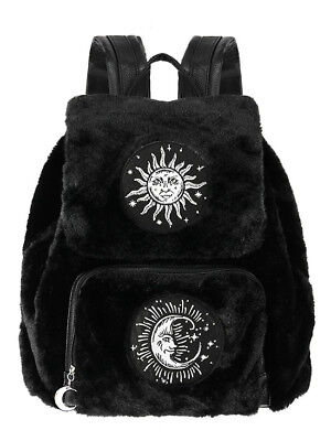Restyle Crescent Moon & Sun Faux Furry Goth Punk Occult School Book Bag Backpack, used for sale  Staten Island