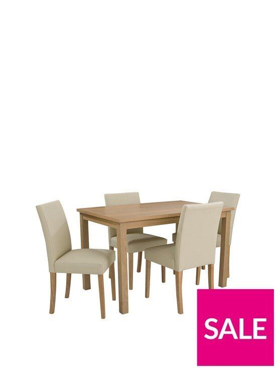 Brand New Primo 120 Cm Dining Table 4 Faux Leather Chairs Oldham