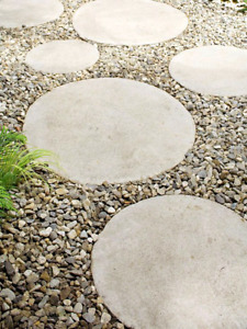 Round penny pavers, concrete stepping stones, cement