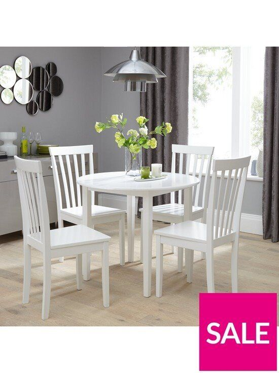 Brand New Sophia 90 Cm Round Dining Table 4 Chairs White In