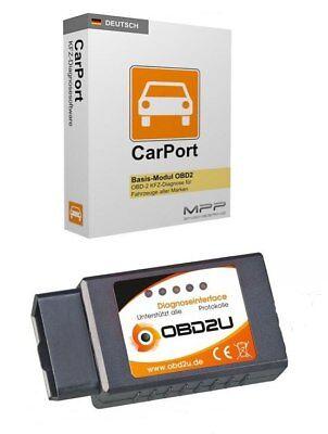E327 Bluetooth OBD 2 Diagnose-Interface Gerät Carport SOFTWARE DEUTSCH viele PKW Blue Fox Bluetooth